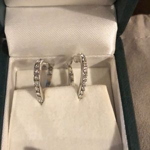 MICHAEL KORS heart shaped silver pave earring set